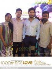 dulquar salman at 100 days of love malayalam movie pooja photos