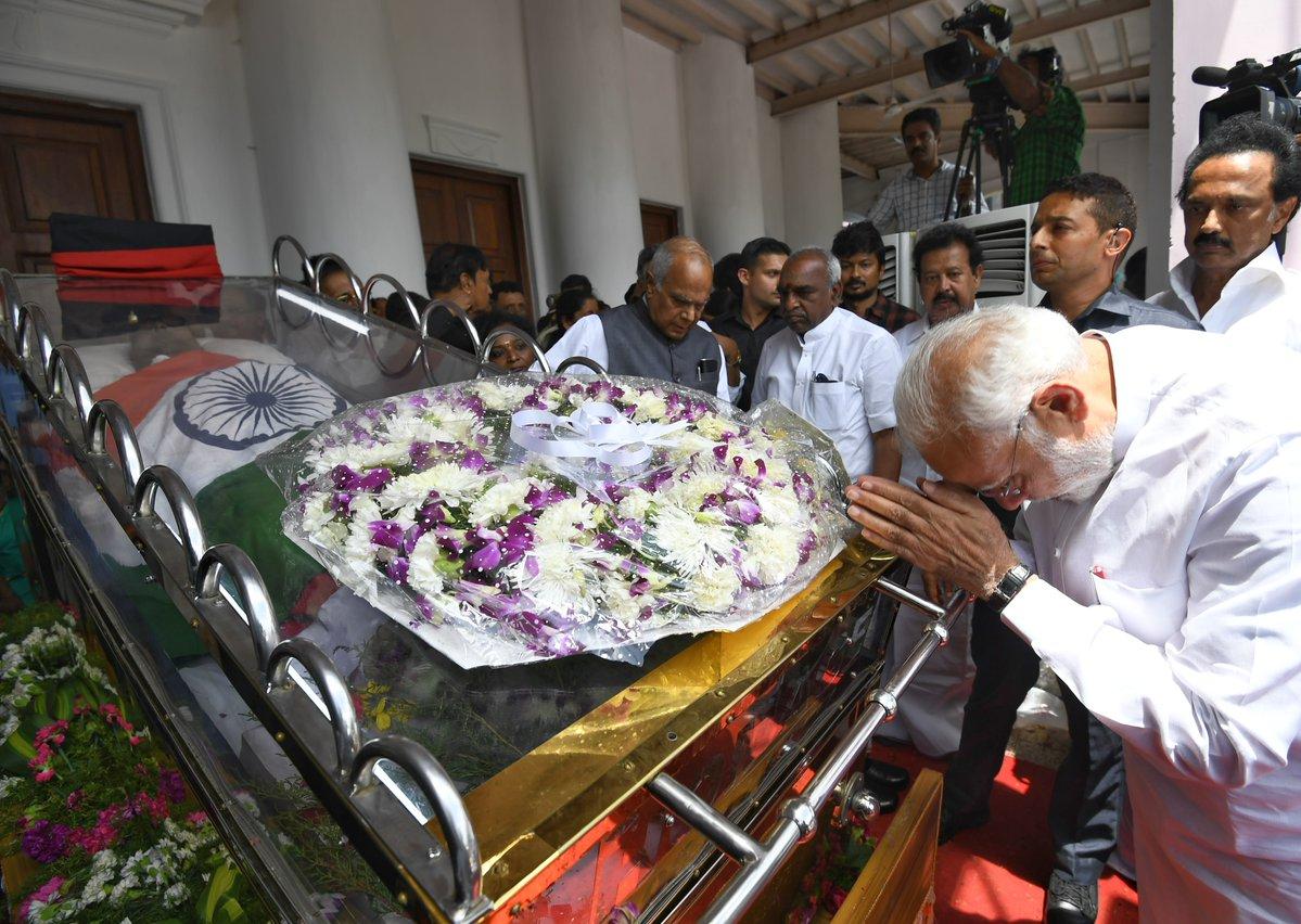 narendra modi at kalaignar karunanidhi funeral photos 0932 1