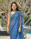esther-anil-new-photos-in-blue-saree