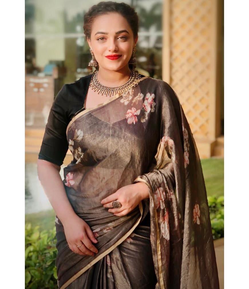 Nithya Menon saree hd images